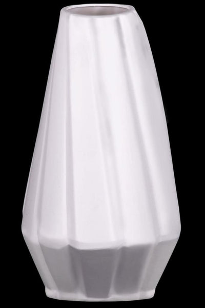 Ceramic Vase With Low Belly And Tapered Bottom, White-21476