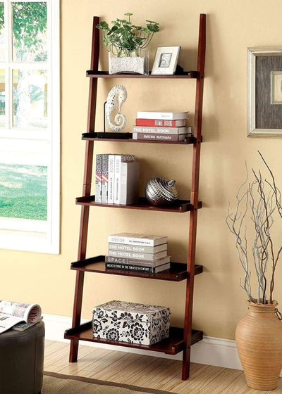 Sion Contemporary Ladder Shelf, Cherry Finish By Casagear Home