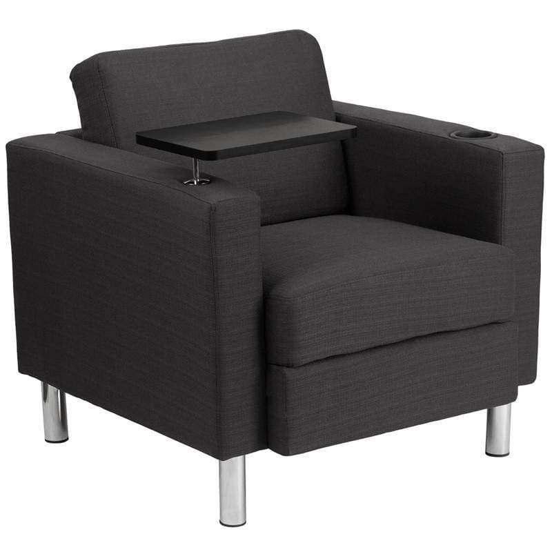 Charcoal Gray Fabric Guest Chair with Tablet Arm Tall Chrome Legs