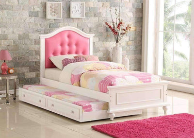 Cherub Twin Size Bed With Trundle In Pink And White By Poundex