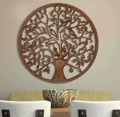 Circular Mango Wood Wall Panel with Cutout Tree and Bird Carvings Antique Brown UPT-195272
