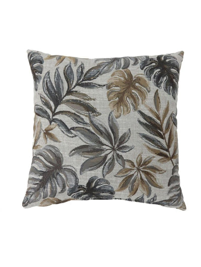 Contemporary Style Leaf Designed Set of 2 Throw Pillows, Gray -PL6027GY-S-2PK By Casagear Home