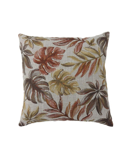 Contemporary Style Leaf Designed Set of 2 Throw Pillows, Red -PL6027RD-L-2PK By Casagear Home