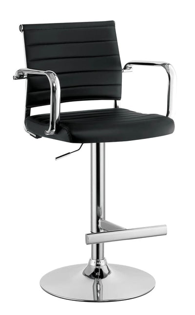 Contemporary Style Leatherette Padded Bar Stool With Arms, Black & Silver By Casagear Home