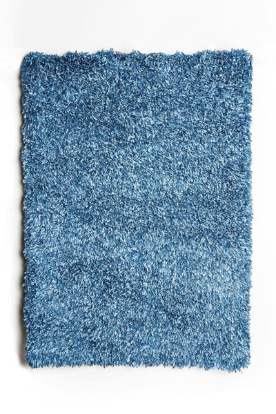 Contemporary Style Polyester Area Rug With cotton Backing, Blue
