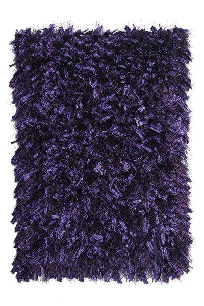 Contemporary Style Polyester Area Rug With cotton Backing, Purple