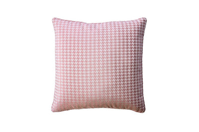 Contemporary Style Set of 2 Throw Pillows With Houndstooth Patterns, Rose Pink By Casagear Home
