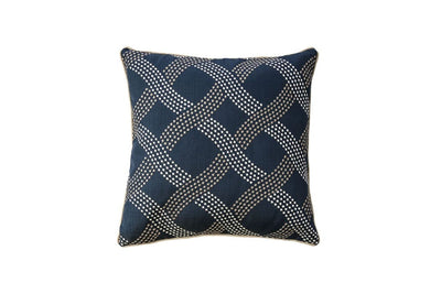 Contemporary Style Wavy Criss-cross Design Polyster Throw Pillow, Navy Blue, Set of 2 By Casagear Home