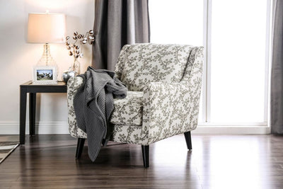 Contemporary Style Wooden Sofa Chair With Leafy Patterned Fabric, White & Gray By Casagear Home