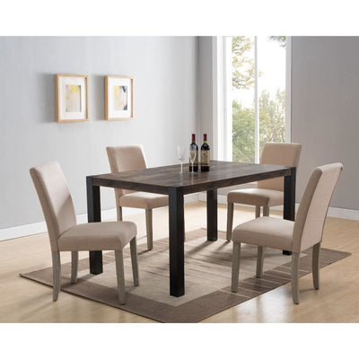 Contemporary Wooden Rectangular Dining Table with Block Legs, Black and Brown - Benzara