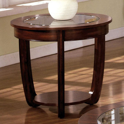 Crystal Falls Transitional End Table , Dark Cherry By Casagear Home
