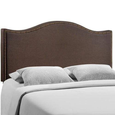 Curl Queen Nailhead Upholstered Headboard Dark Brown