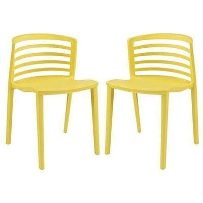 Curvy Dining Chairs Set of 2 Yellow