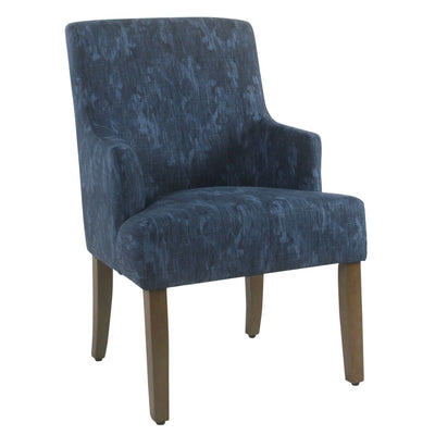 Damask Patterned Fabric Upholstered Dining Chair with Swoop Armrests and Wooden Feet, Blue - K2984-A835 By Casagear Home