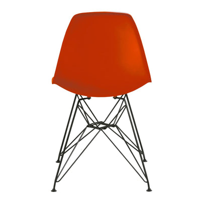 Deep Back Plastic Chair with Metal Eiffel Style Legs Orange and Black MSF-9L9766R