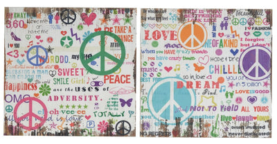 Distressed Wooden Wall Plaques With Colorful Doodles, Set of 2 By Casagear Home