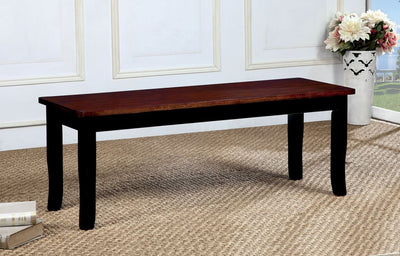 Dover Transitional Bench With Wooden Seat, Cherry & Black Finish By Casagear Home