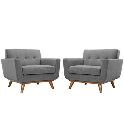 EEI-1284-GRY Engage Armchair Wood Set of 2 Gray