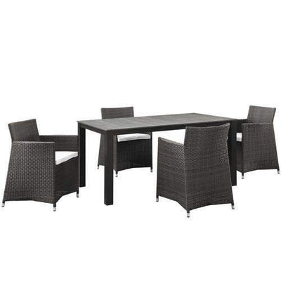 EEI-1746-BRN-WHI-SET Junction 5 Piece Outdoor Patio Dining Set Brown White