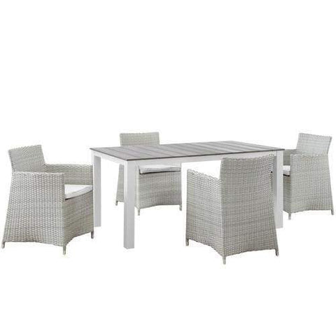 EEI-1746-GRY-WHI-SET Junction 5 Piece Outdoor Patio Dining Set Gray White