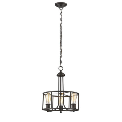 "Elissa Transitional 3 Light Rubbed Bronze Ceiling Pendant 15"" Wide - CH2S004RB15-UP3"