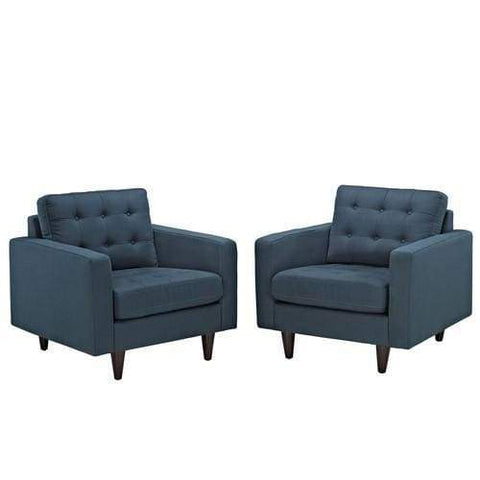 Empress Armchair Upholstered Set of 2 Azure