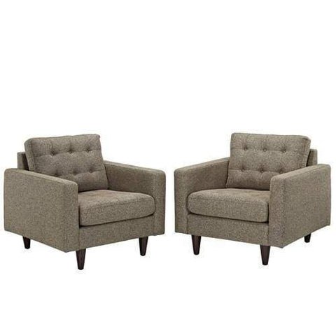 Empress Armchair Upholstered Set of 2 Oatmeal