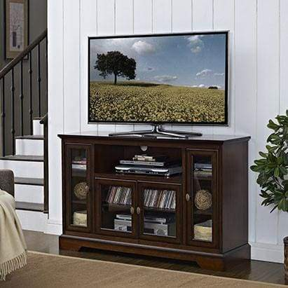 Enduring Highboy Style Wood TV Stand In Vintage Rustic Brown by Walker Edison