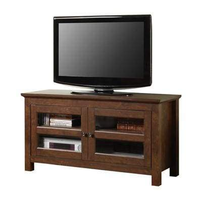 Exclusively Designed Traditional Brown Full-Door Wood TV Console by Walker Edison