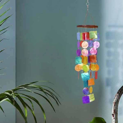 Exquisite Wind Chime with Wooden Round Top and Ring Handle, Multicolor-Benzara