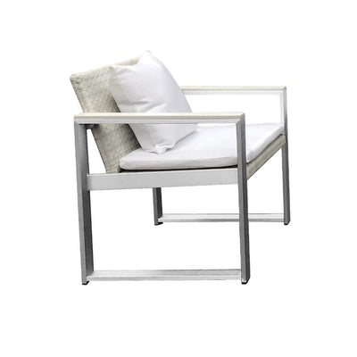 Exquisitly Handsome Anodized Aluminum Upholstered Cushioned Chair with Rattan White BM172073