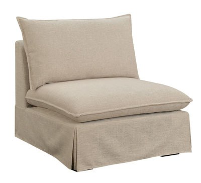 Fabric Upholstered Armless Chair With Padded Cushions In Beige
