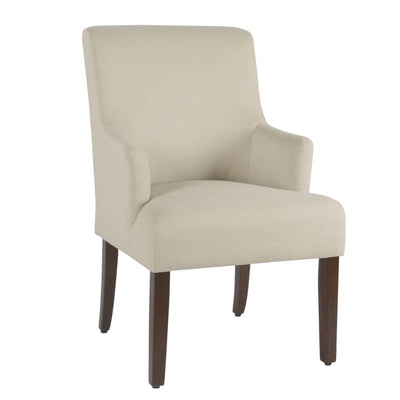 Fabric Upholstered Wooden Accent Chair with Low Swoop Armrests, Cream - K2984-F2322 By Casagear Home