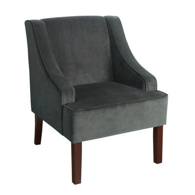 Fabric Upholstered Wooden Accent Chair with Swooping Armrests, Gray and Brown - K6499-B229 By Casagear Home