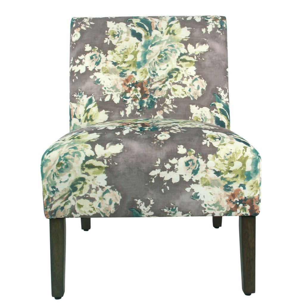 Fabric Upholstered Wooden Armless Accent Chair With Bold Floral Pattern Multicolor K7682 A815 By Casagear Home