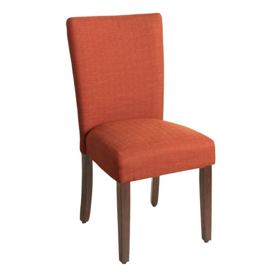 Fabric Upholstered Wooden Armless Parson Dining Chair, Orange and Brown - K6805-F2039 By Casagear Home
