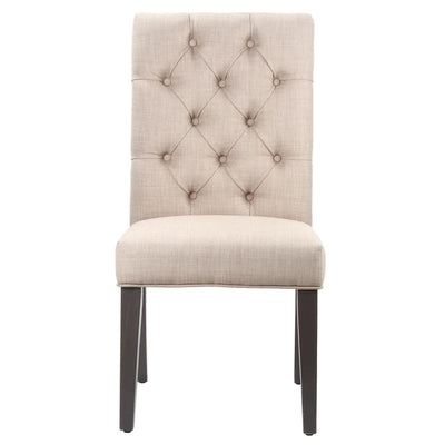 Fabric Upholstered Wooden Chair with Button Tufting Beige and Black MSF-8PL766K