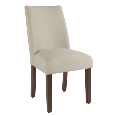 Fabric Upholstered Wooden Dining Chairs with Angled Curved Backrest, Cream, Set of Two - K7702-F2322 By Casagear Home