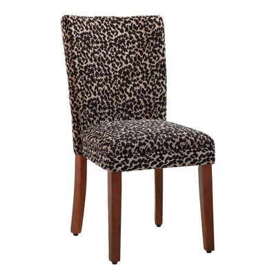 Fabric Upholstered Wooden Parson Chair with Leopard Print, Black and Brown, Set of Two By Casagear Home