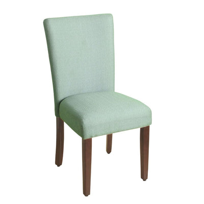 Fabric Upholstered Wooden Parson Dining Chair with Splayed Back, Teal Blue and Brown - K6805-F2092 By Casagear Home