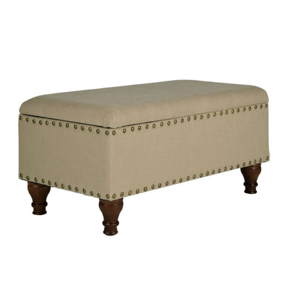 Fabric Upholstered Wooden Storage Bench With Nail head Trim, Large, Beige and Brown - K5668NP-F1399 By Casagear Home