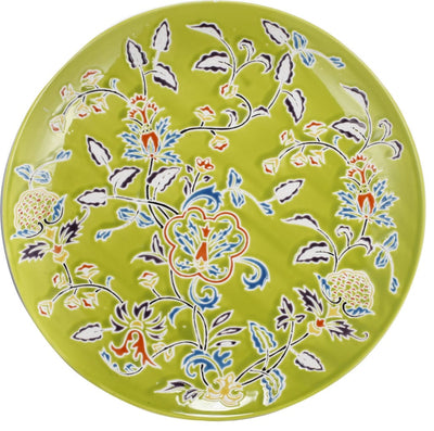 Floral Patterned Ceramic Decorative Plate In Round Shape, Multicolor By Casagear Home