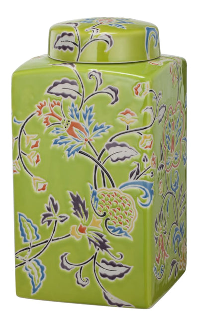 Floral Patterned Ceramic Lidded Jar, Multicolor By Casagear Home