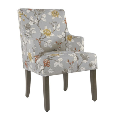 Floral Patterned Fabric Upholstered Dining Chair with Swoop Armrests and Wooden Feet, Multicolor - K2984-A836 By Casagear Home