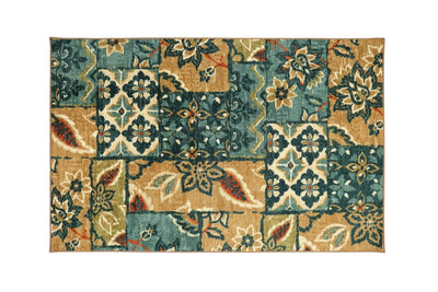 Floral Patterned Nylon Area Rug With Latex Backing, Small, Multicolor