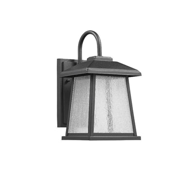 "Frontier Transitional Led Textured Black Outdoor Wall Sconce 12"" Height"