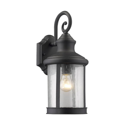 "GALAHAD Transitional 1 Light Black Outdoor Wall Sconce 16"" Height"