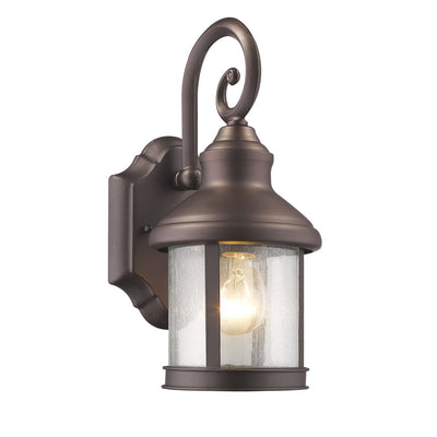 "GALAHAD Transitional 1 Light Rubbed Bronze Outdoor Wall Sconce 12"" Height"