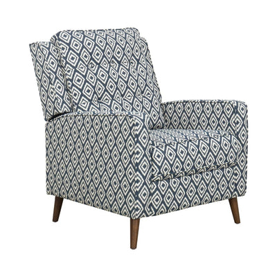 Geometric Pattern Fabric Upholstered Recliner Chair With Wooden Tapered Legs, Blue and Brown - K7171-F2264 By Casagear Home