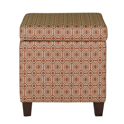 Geometric Patterned Square Wooden Ottoman with Lift Off Lid Storage, Orange and Cream - K7380-F1447 By Casagear Home